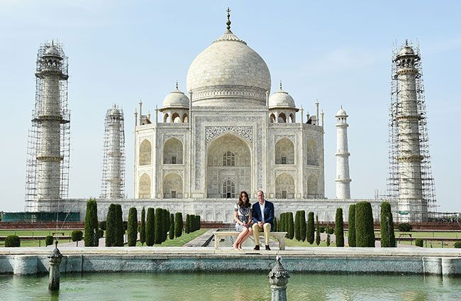 Will & Kate, Duke & Duchess of Cambridge, visit the Taj Mahal during the India & Bhutan Tour. Kate was wearing a Naeem Khan dress, LK Bennett 'Fern' heels & her Ray Ban 'Wayfarer' sunglasses. - 4/16/2016