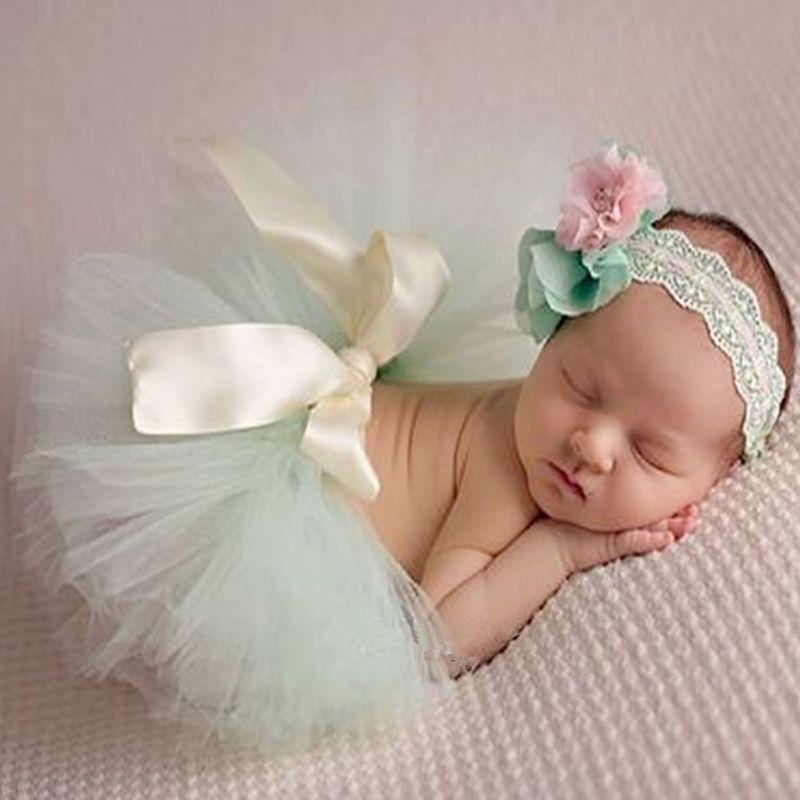 Newborn tutu skirts and headband set baby photo shoot princess skirts floral headbands photography props