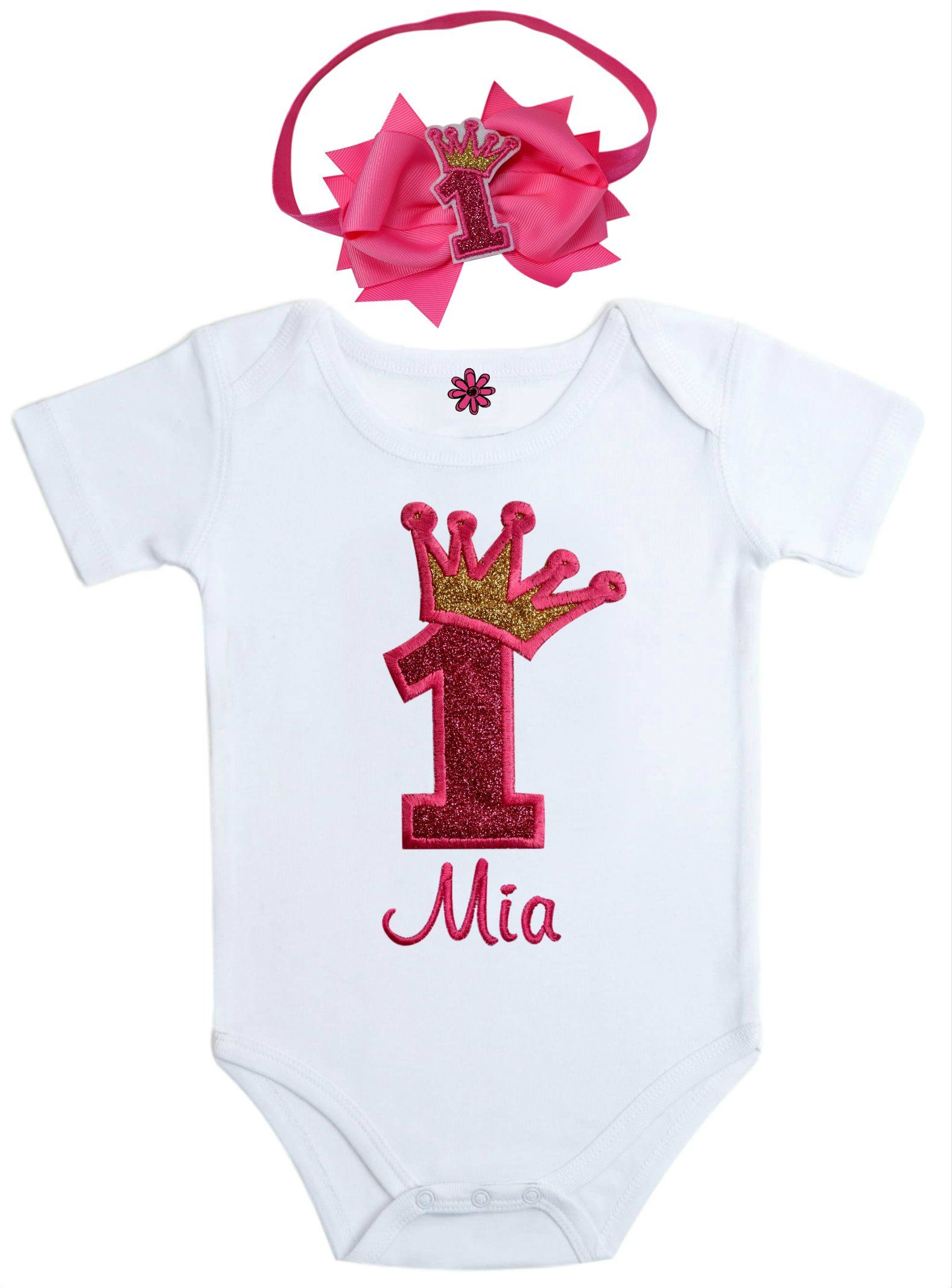 e8b2dbed9 Funny Girl Designs First Birthday Outfit Onesie for Girls Sparkling Glitter  Crown with Personalized Name Includes