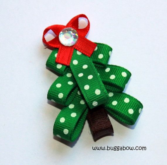Dot Ribbon Christmas Tree Bow
