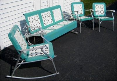 Vintage Retro Patio Furniture 1950 S Aluminum Metal Glider Rocker 2 Chairs Rare