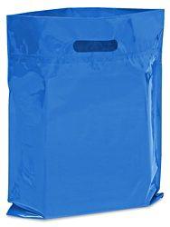 """Die Cut Handle Bags - 12 x 15"""", Blue S-7632BLU"""