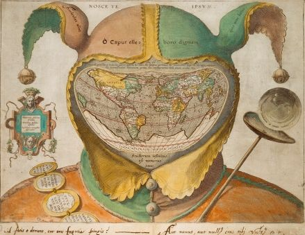 """Fool's Cap Map of the World print, engraved and published Antwerp, c.1580-1590, implying the universality of folly and derived from Jean de Gourmont's woodcut [see previous]. Interestingly, in his vastly learned """"Anatomy of Melancholy"""" (1621), Robert Burton refers specifically to this print."""