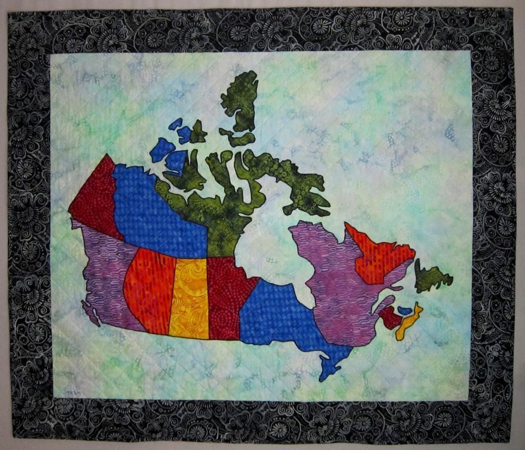 Canada Patchwork Map Quilt by Elena McDowell   Craftsy   Map quilt ...