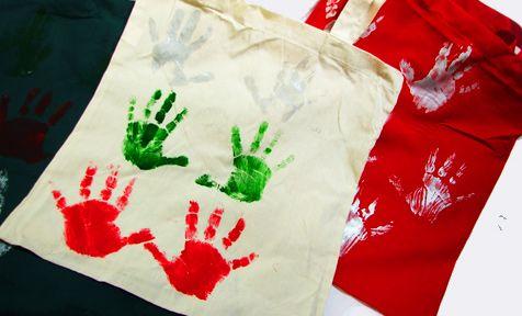 Handprint tote bag Craft, Xmas crafts and Xmas