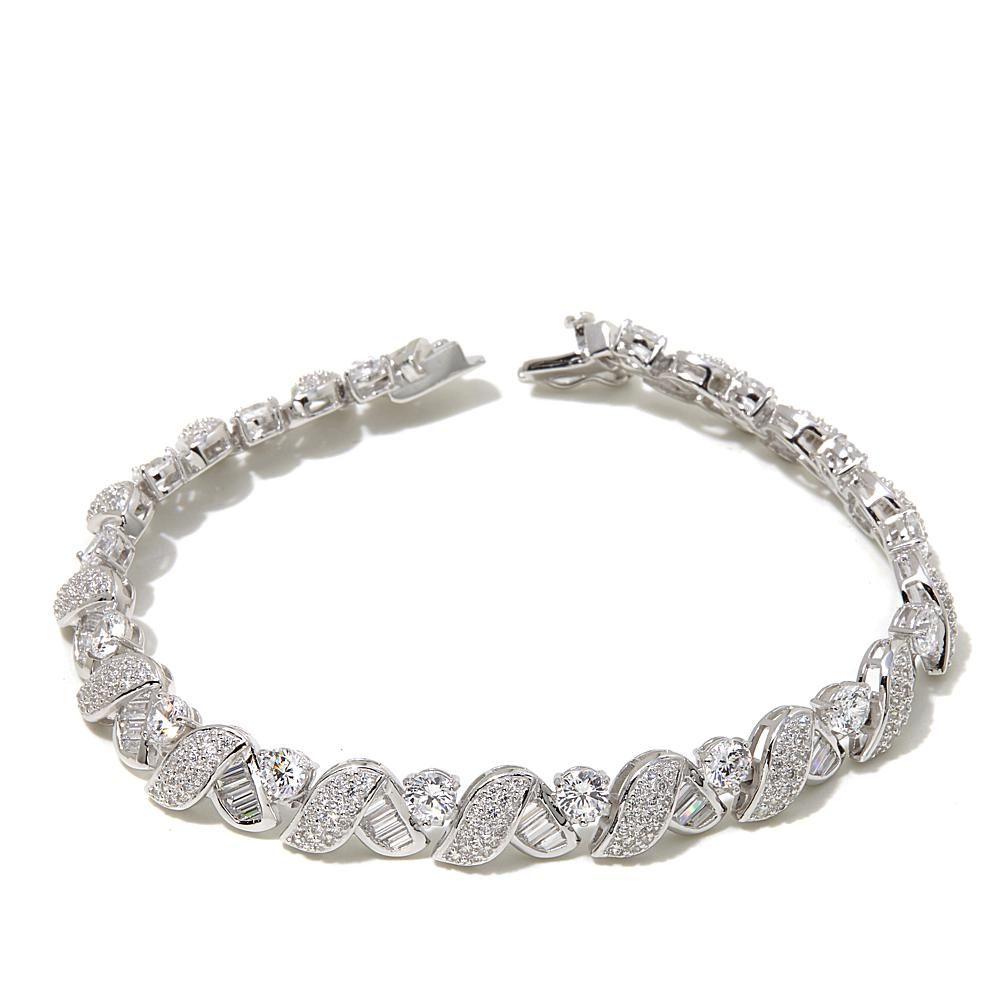 "Victoria Wieck 7.56ctw Absolute™ Baguette and Round 7-1/2"" Line Bracelet - Metallic"