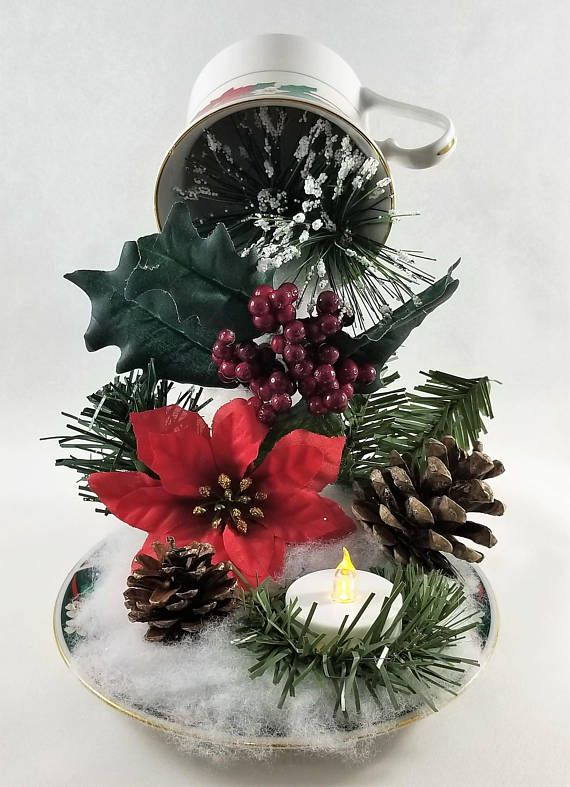 Christmas floating tea cup centerpiece deko blumen und