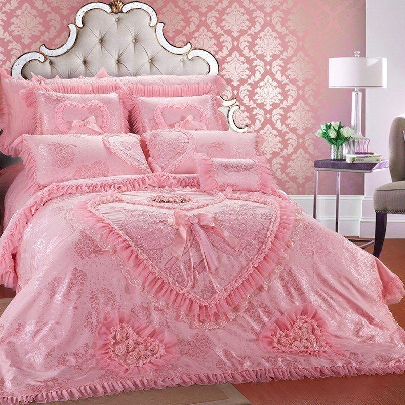 Luxury Rose Wedding Bedding Set Pink Heart Pattern Bedding