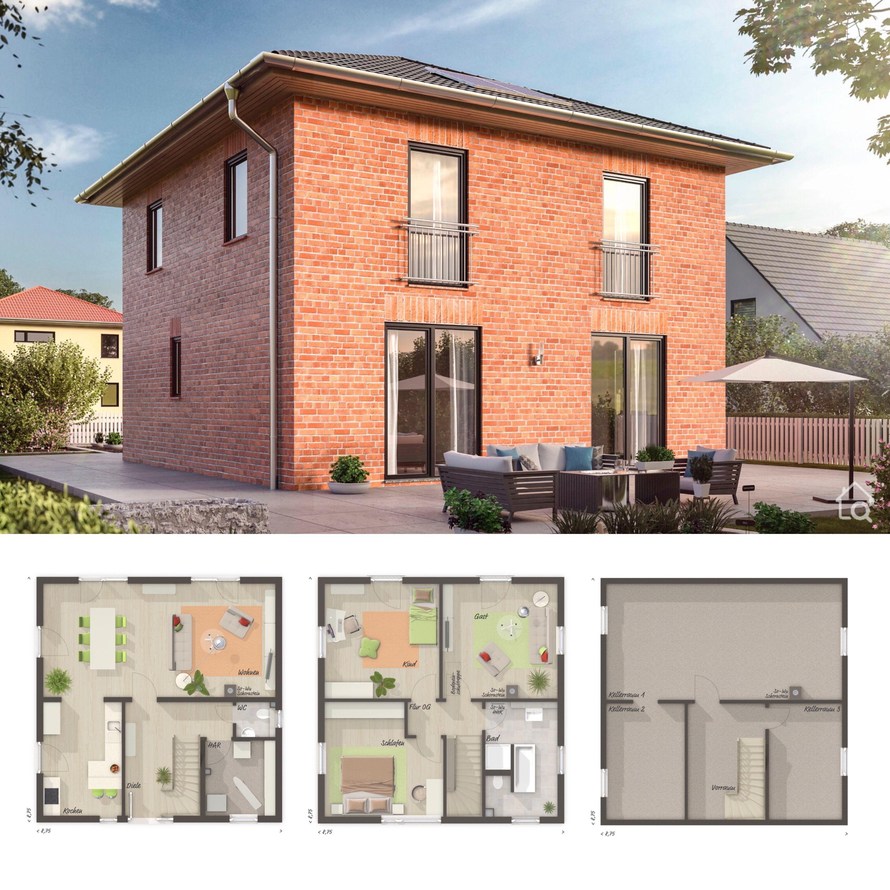 Moderne Stadtvilla mit Klinker Fassade & Walmdach