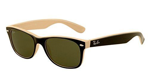 0491a3f7ac New Ray Ban RB2132 875 Black on Beige Frame Crystal Green 52mm Sunglasses