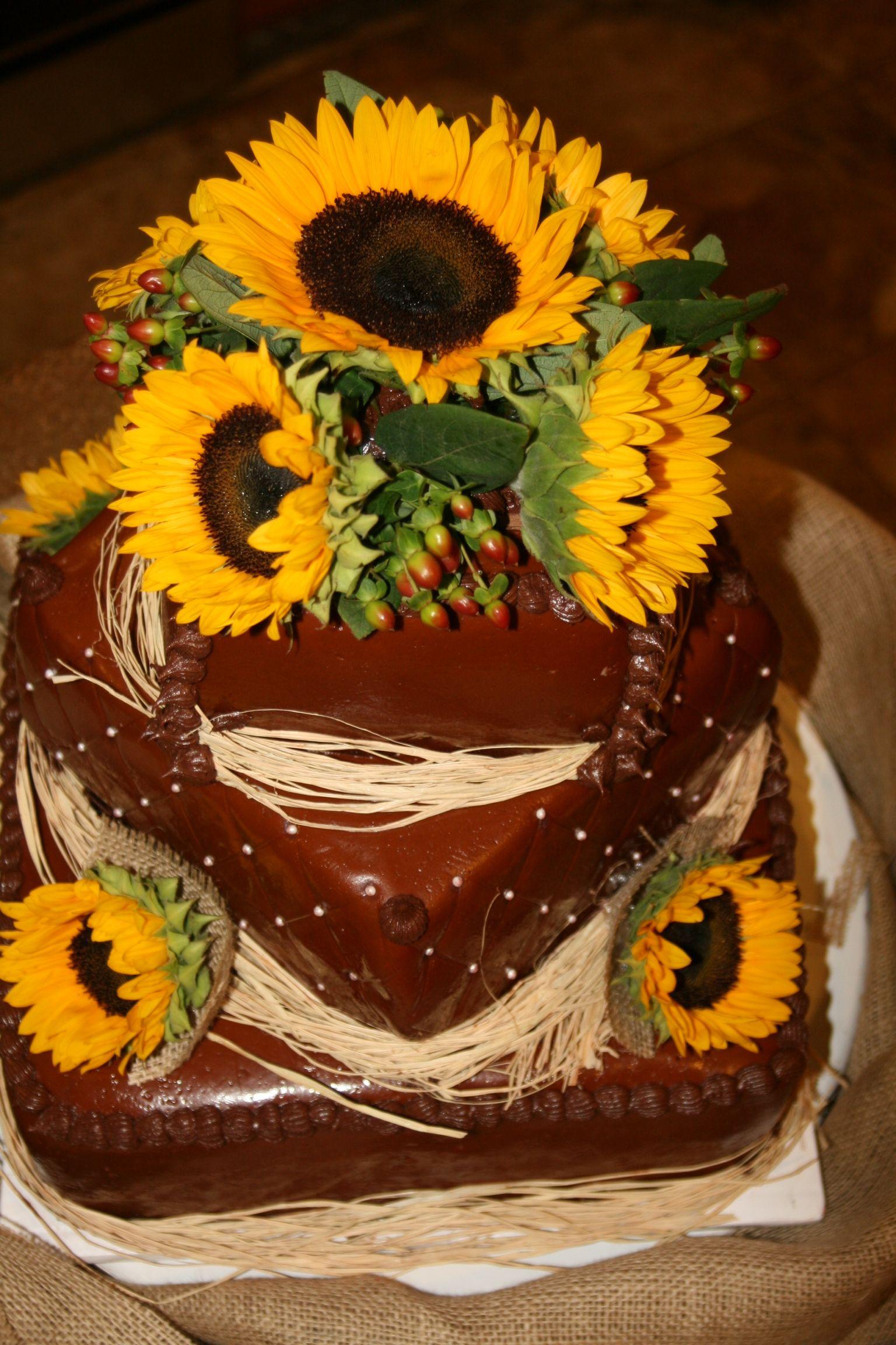 Chocolate Fondant Sunflower Wedding Cake