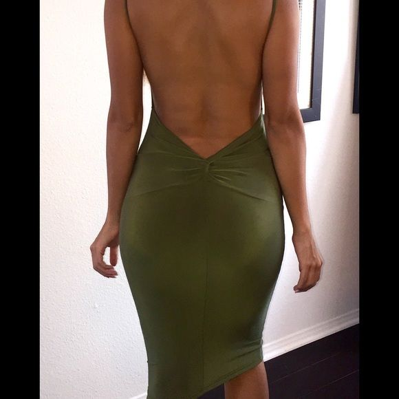 469167256d Olive hunter green open back bodycon dress Olive hunter green open back  bodycon dress this dress is a brand new long sleeve dress with a plunging open  back!