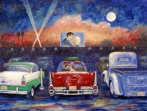 Drive In Movie Theater Art Print By Linda Mears Drive In Movie Theater Americana Art Drive In Movie
