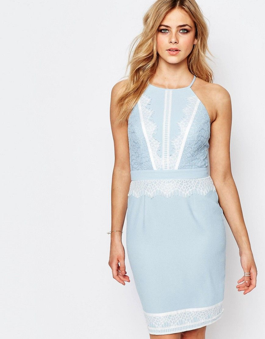 Lipsy high neck midi dress with lace detail products by asos