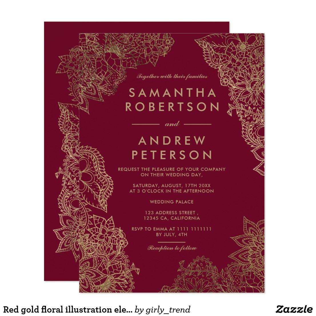 Red gold floral illustration elegant wedding invitation   Wedding ...