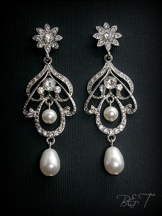 Bridal Chandelier Earrings Classic Victorian Wedding Flower And Scroill With Pearls Crystals