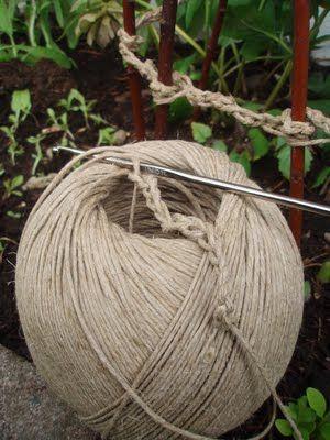 chain stitch crochet jute trellis