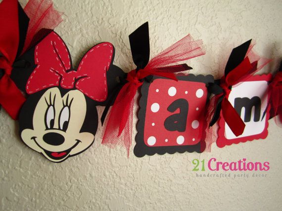 Minnie Mouse High Chair Banner  Red and White by 21Creations, $13.00