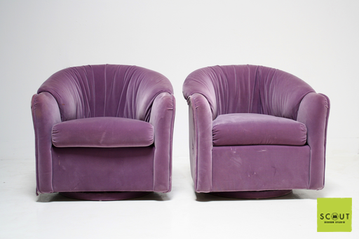 Purple Velvet Swivel Chairs   $695 At Scout Design Studio {ready For  Reupholstery!}