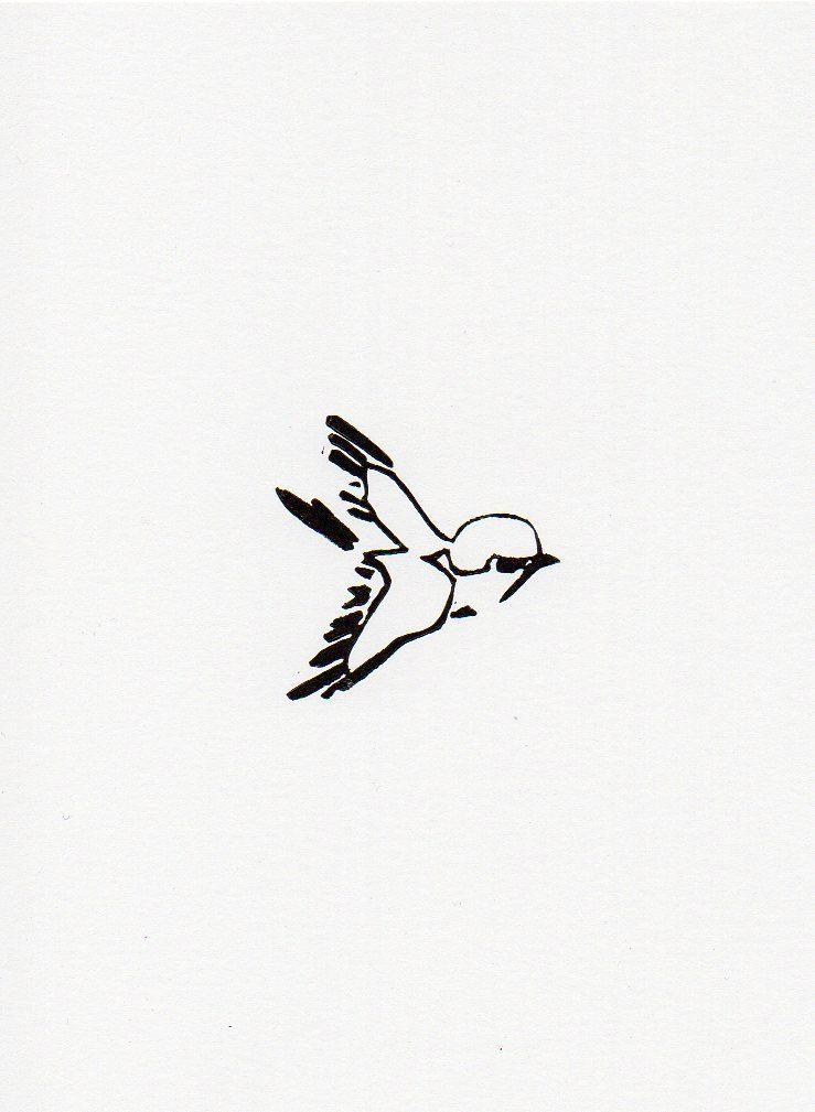 Little bird 3 linocut print 5 x 7.