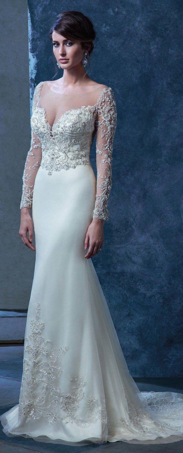 Feather Bodice Gloria Gown Nicolette Wedding Mermaid Wedding Dress ...