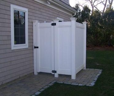 Privacy Vinyl Fence Used As Trash Or Outdoor Shower Enclosure Outdoor Shower Kits Outdoor Shower Outdoor Shower Enclosure