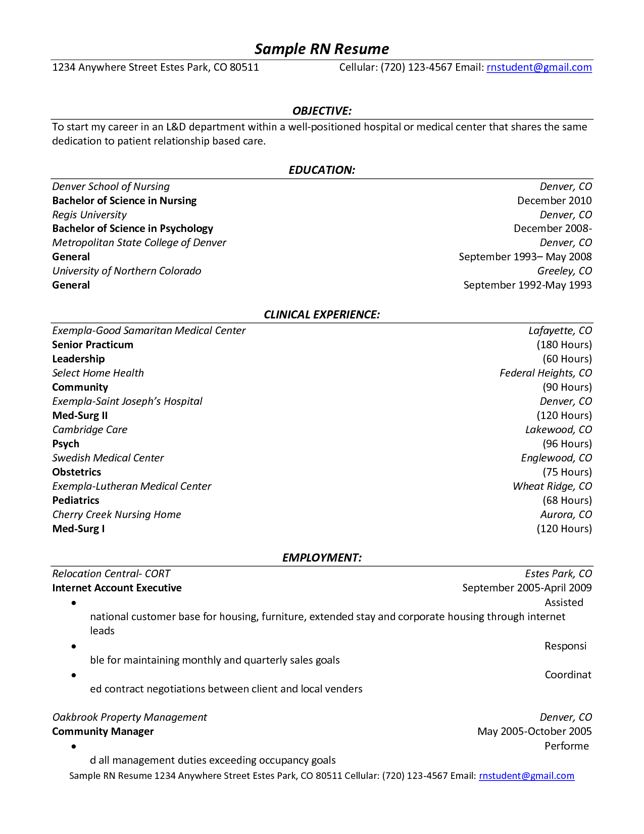 Sample Resume Hospital Volunteer Experience