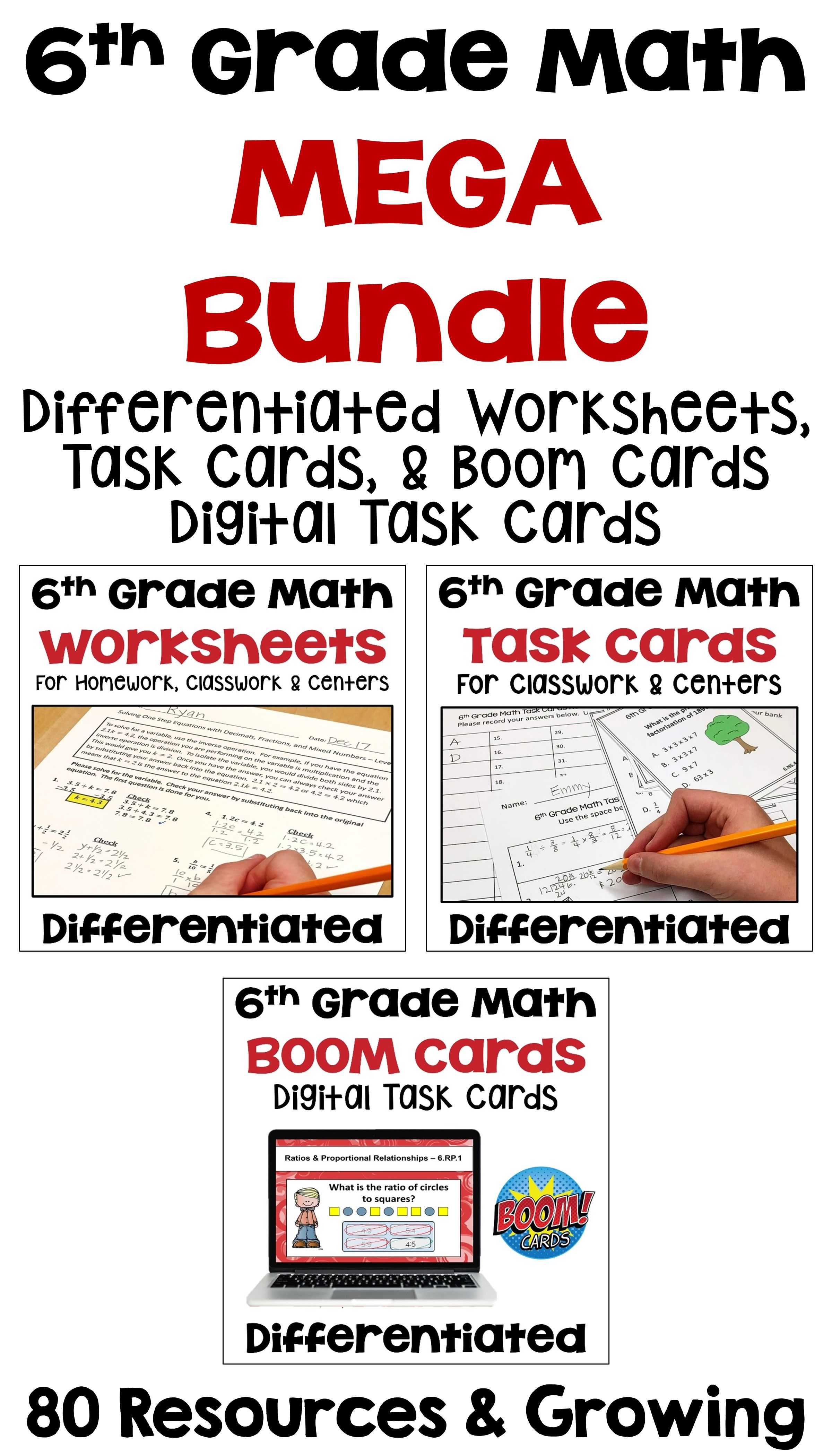 6th Grade Math Differentiated Bundle Of Worksheets Task