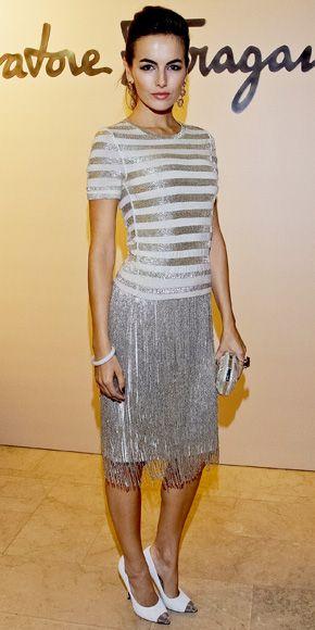 Camilla Belle in Ferragamo gray grey fringe skirt t-shirt t shirt horizontal stripes shimmer sparkles stripe
