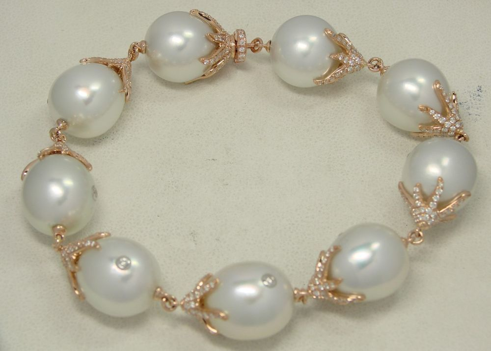 SOUTH SEA PEARL & DIAMOND 18K PINK GOLD BRACELET