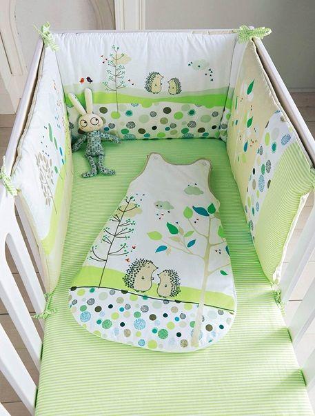 Tour de lit bébé brodé PIC-NIC - vert Minky baby blanket, Babies