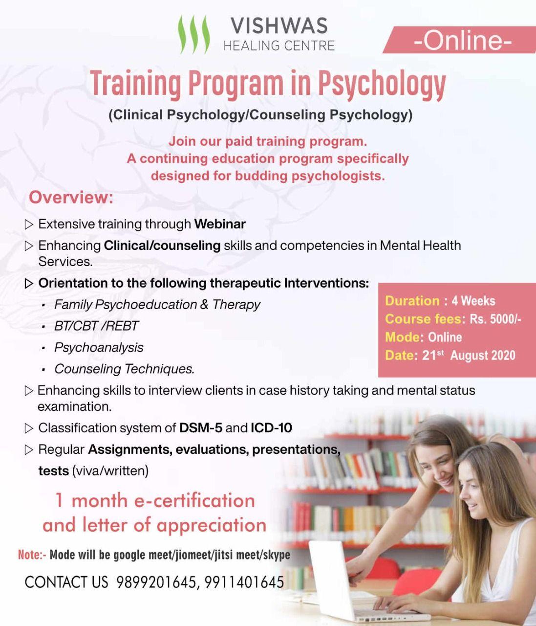 Online Training Program In Psychology In 2020 Psychology Internships Counseling Psychology Clinical Psychology