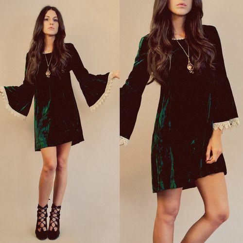 Clothing · ◉VTG 60s Babydoll Emerald Velvet Eyelet Bell Sleeve Lace Mod Mini  Dress Tunic ...