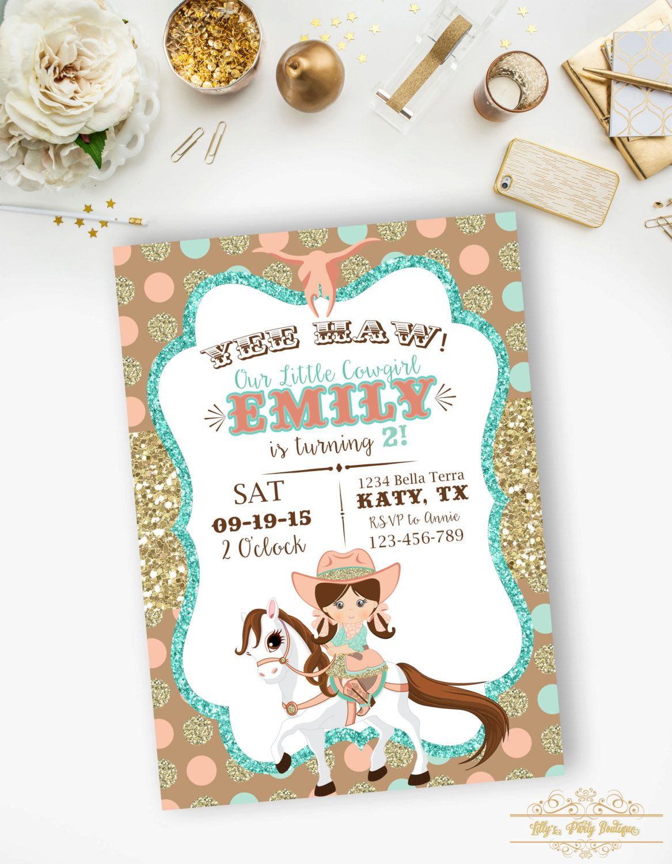 Cowgirl Birthday Invitation Gold Glitter Mint and Coral | Arreglos ...