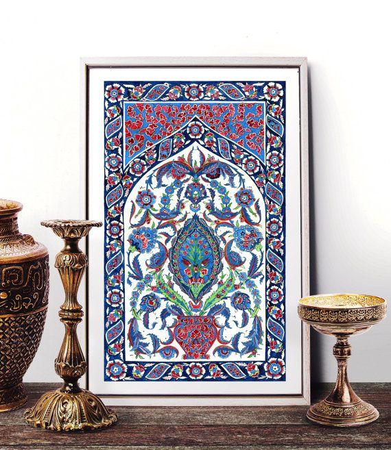 Traditional Ottoman Tulip Watercolor Wall Art Turkish Floral: Traditional Antique Ottoman Turkish Tile Watercolor