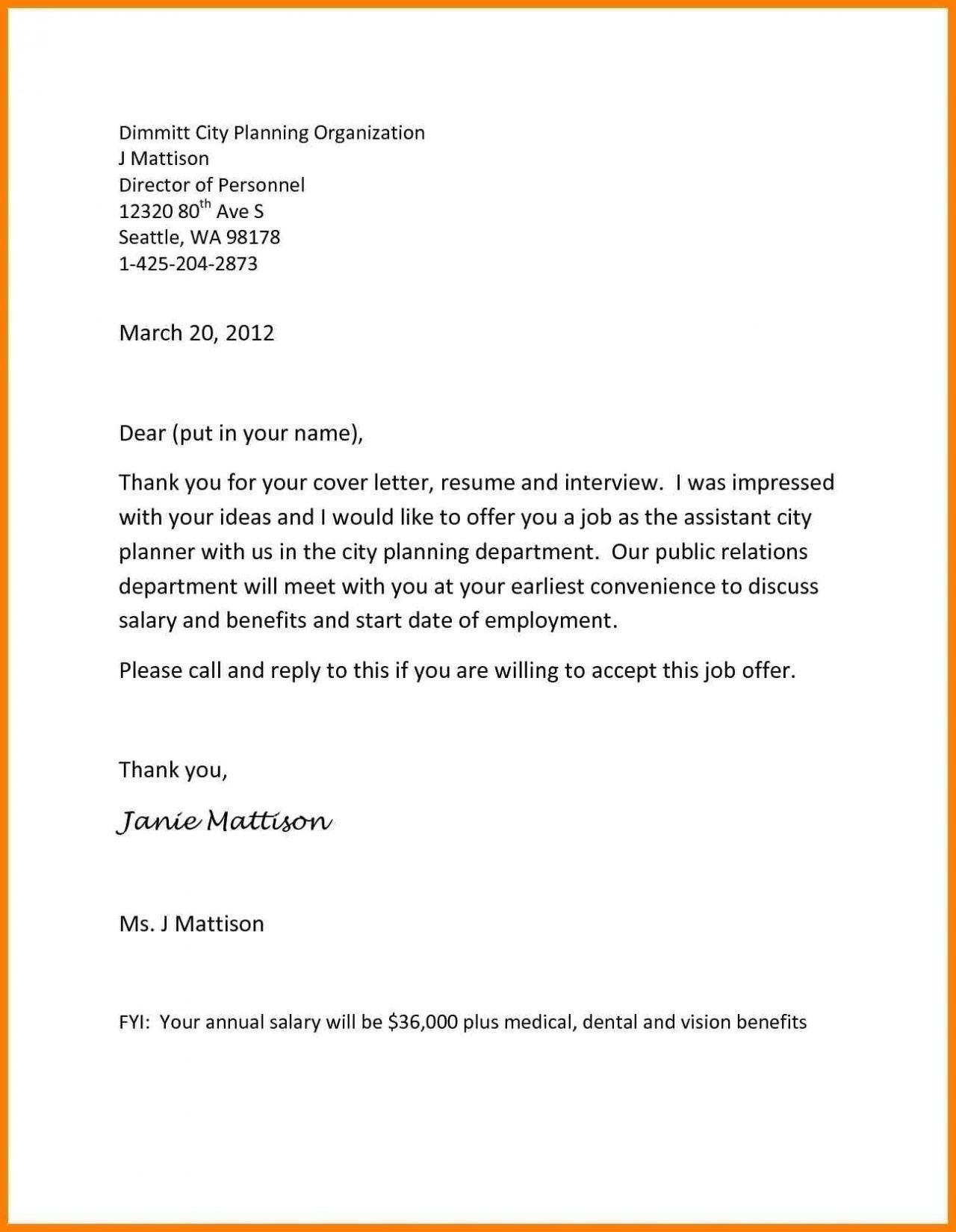 Job Offer Letter Example in 2020 Cover letter template