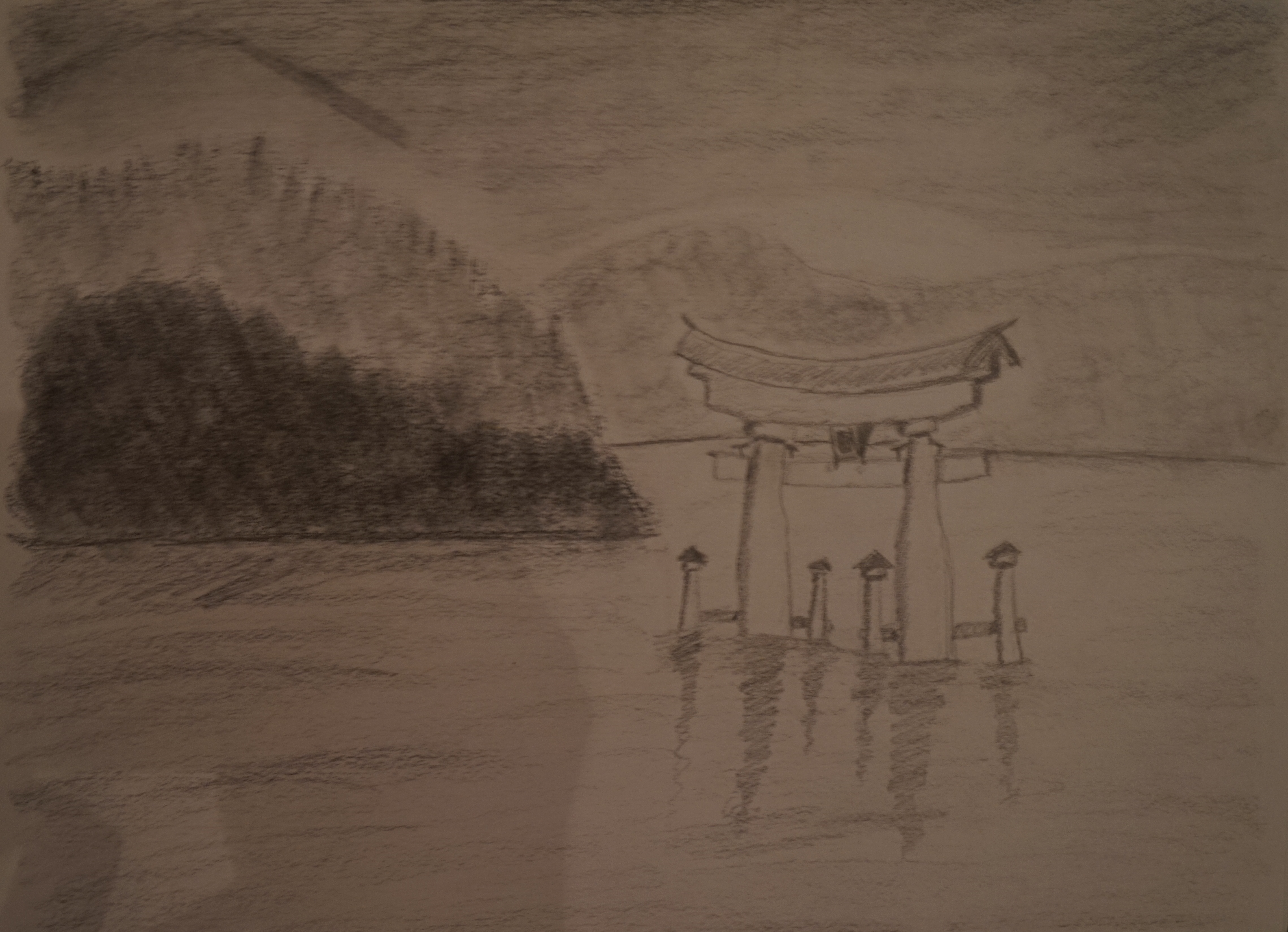 First time I tried to draw a landscape.