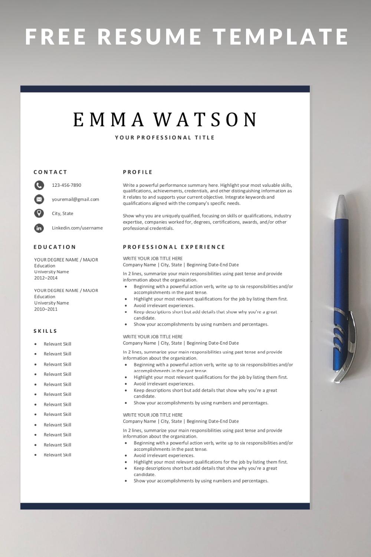 Simple Resume Template Free Download in 2020 Resume