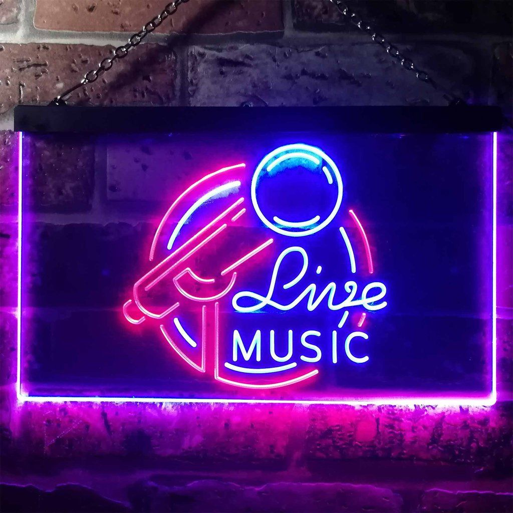 Live Music Two Colors LED Home Bar Sign (Three Sizes) Get