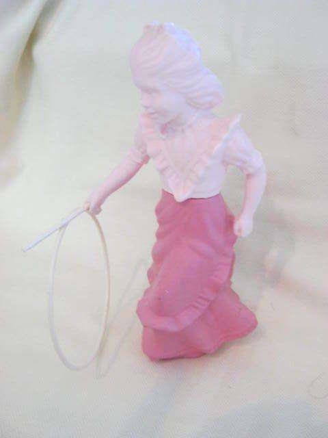"Vintage ""Avon"" ""ROLL-A-HOOP"" ""Field Flowers Cologne"" Bottle/Figurine.Pink Girl!*"