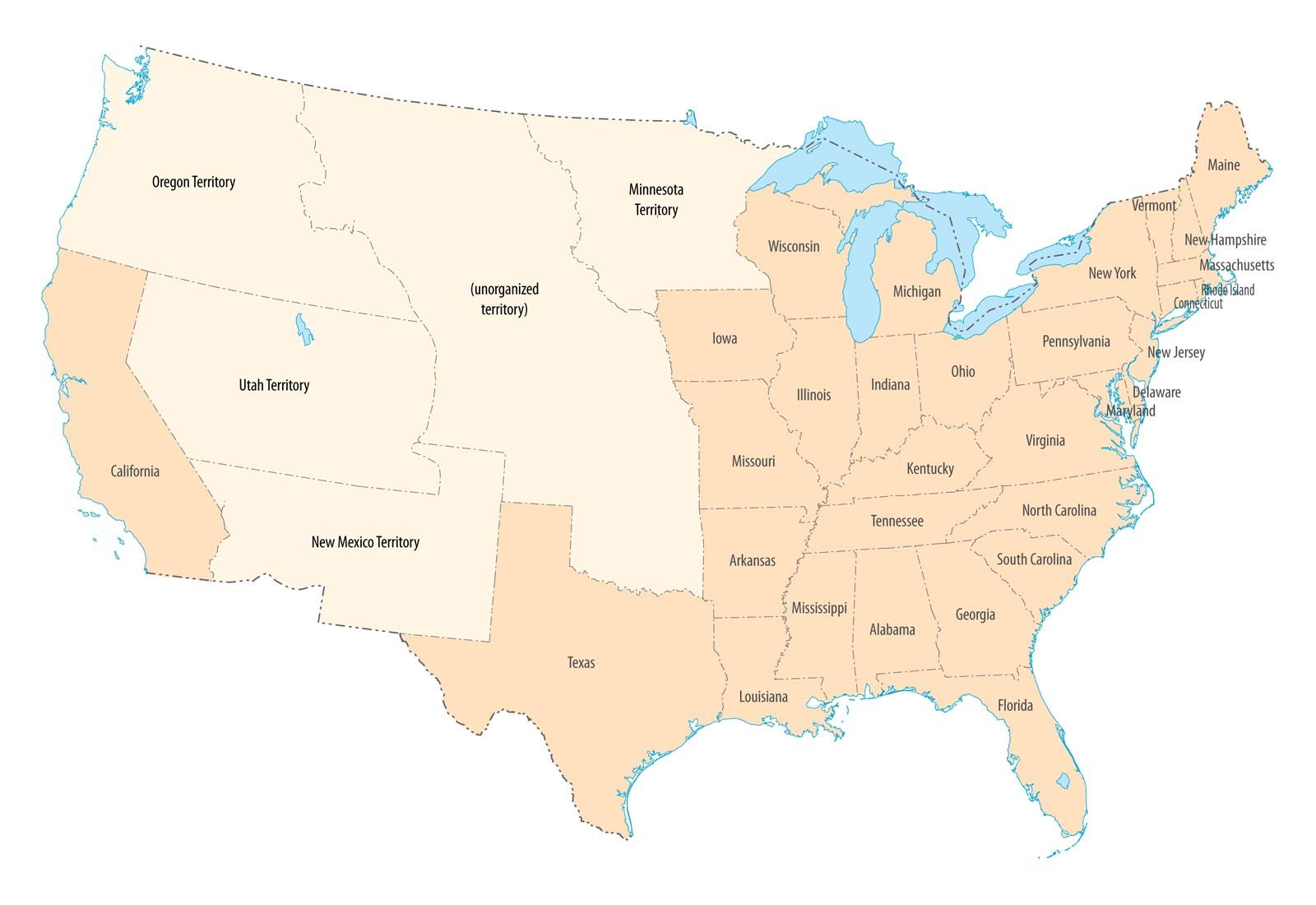 USA Map Troublesome Times Historical References - Us map oregon