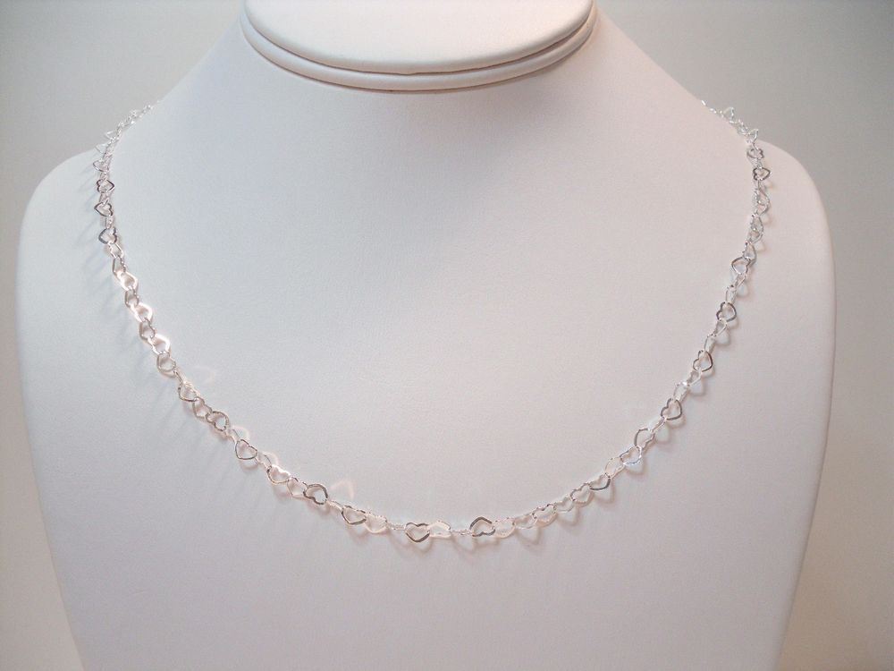 """ITALY 92 STERLING SILVER HIGH POLISH OPEN HEART LINK NECKLACE 20"""" REAL SILVER #AuthenticItalianCraftsmanship #Chain"""