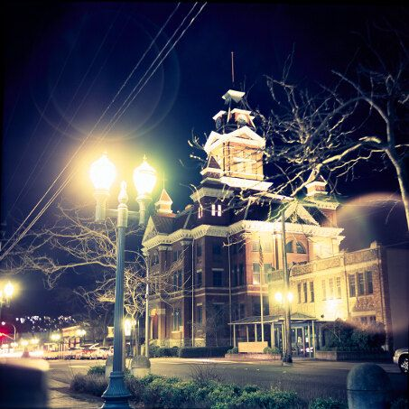 Medium Format Color Film Print Old Town Hall In Bellingham At Night Historical American Building Home