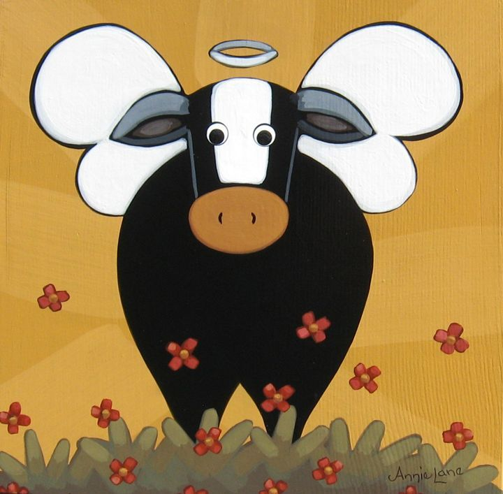 !! HOLY COW !! Whimsical Cow Angel Painting, Whimsical Art by Annie Lane Folk Art