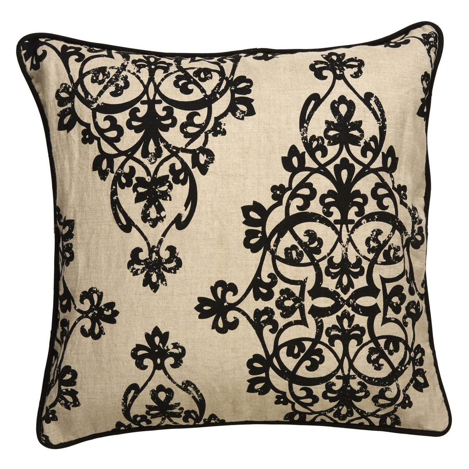 Jaipur scroll linen and polyester decorative pillow black