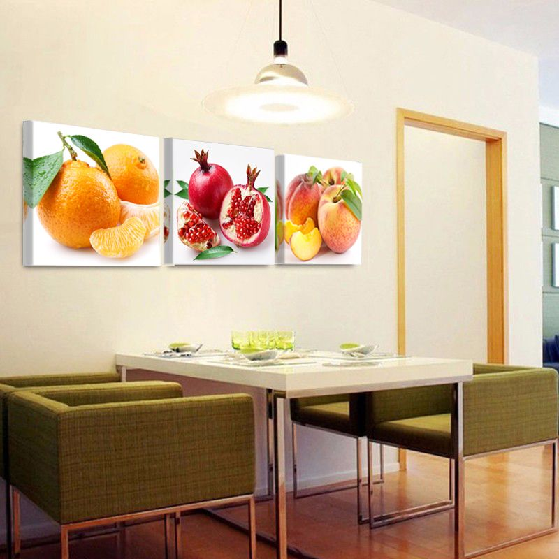 Framed Home Decor Canvas Print Painting Wall Art Fruits Orange Grape Green Apple