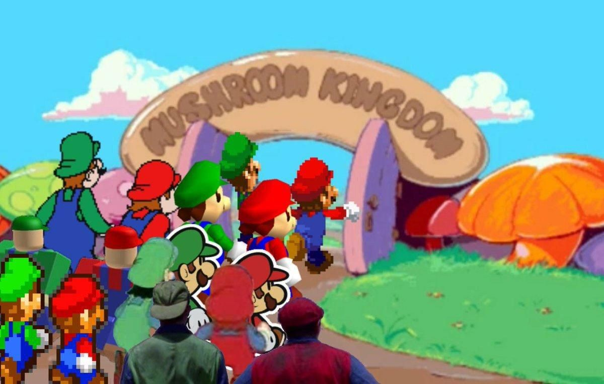 The Gang S Here Mario And Luigi Super Mario Memes Mario Memes