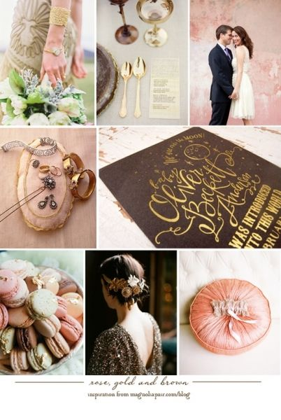 Rose Gold Brown Wedding Color Theme Brown Wedding Themes