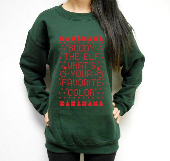 unisex buddy the elf whats your favorite color crew neck fleece sweatshirt ugly christmas sweater christmas fleece buddy the elf - Buddy The Elf Christmas Sweater