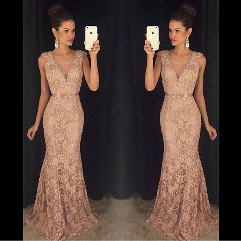 Vestido de Noche 2017 Elegant Long Lace Prom Dresses Sexy Deep V